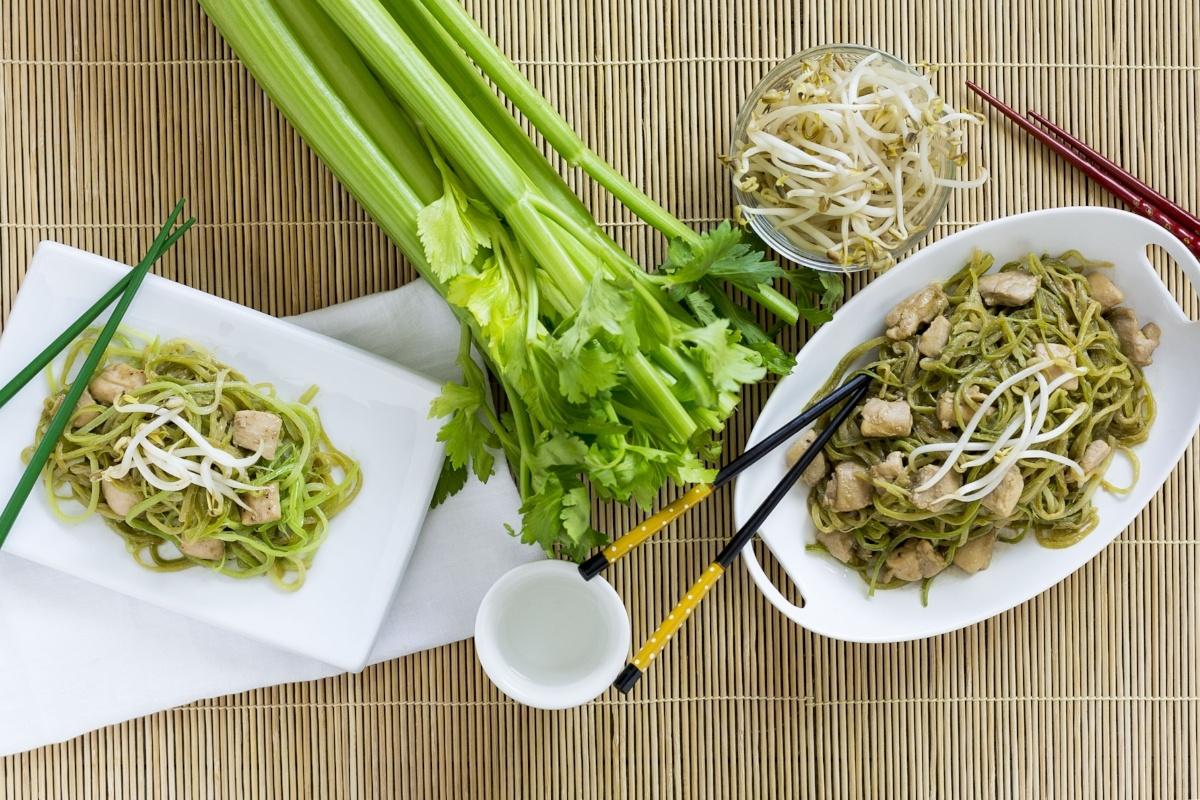Celery Noodle Chicken Pad Thai