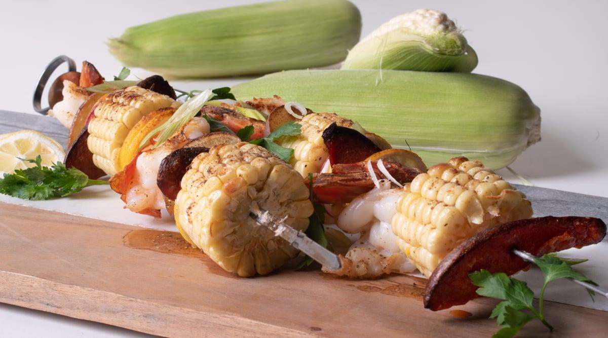 Close up shrimp kebab