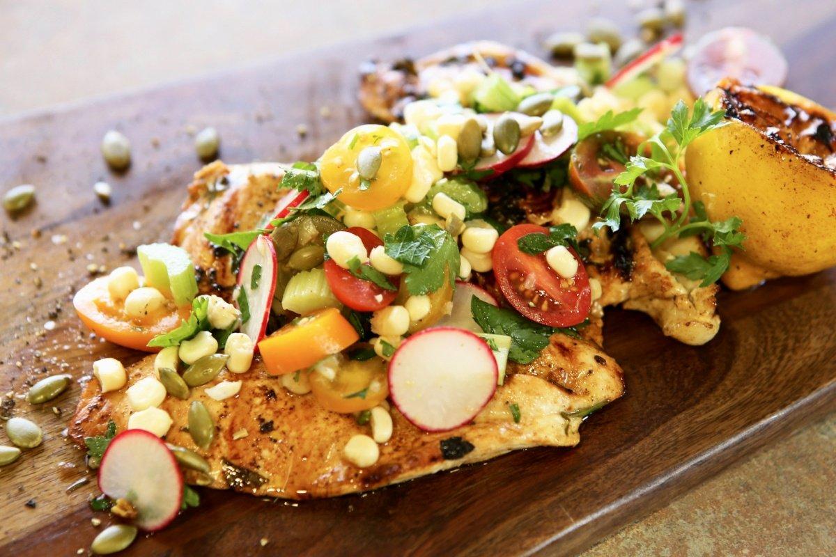 Chicken Paillard with Sweet Corn Salata