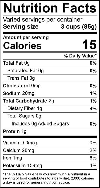 Lettuce Red Leaf Nutrition Panel