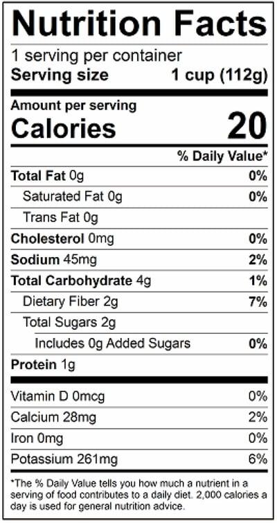 Radish Mini Sticks Nutrition Panel