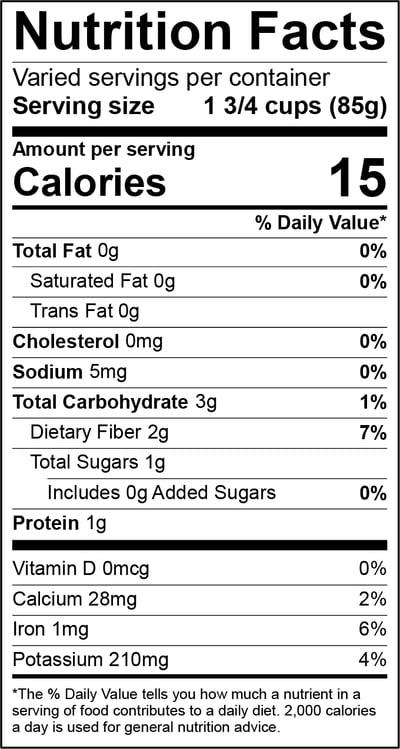 Romaine Hearts Nutrition Panel