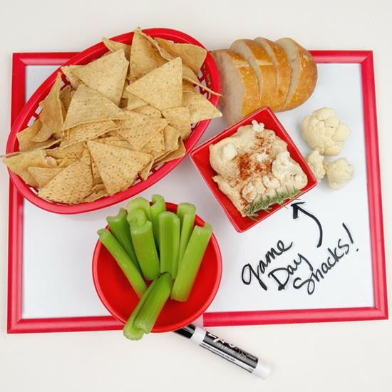 chips, bread, celery sticks, and Dandy cauliflower