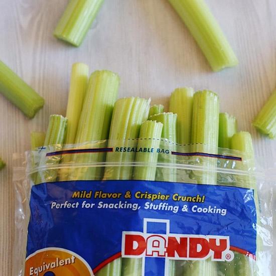 an opened bag of Dandy Celery Sticks