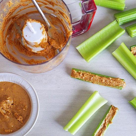 Dandy celery sticks and freshly made peanut butter