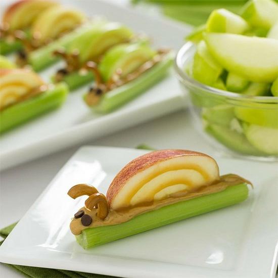 celery snack in the shape of a snail