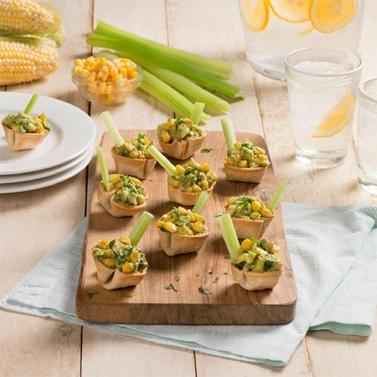 Dandy Sweet Corn snack bites with celery sticks