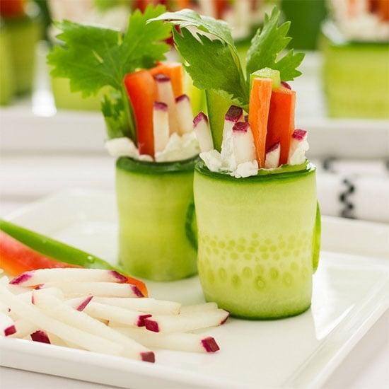 radish ministicks and carrot sticks in a cucumber wrap