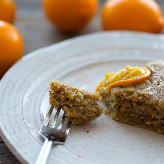 navel orange slice on a piece of cake
