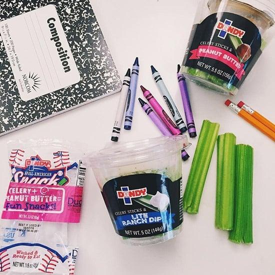 celery, notebook, crayons, pencils