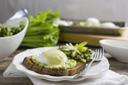 Avocado Eggs Benedict with Spicy Celery Hollandaise and Celery Pesto Potato Hash