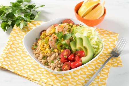 Cajun Shrimp and Dandy Sweet Corn Brown Rice Bowl