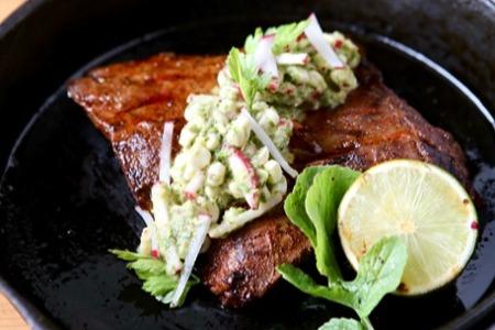Skirt Steak with Sweet Corn and Radish Chimichurri-1